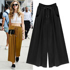 Fashion Womens Culottes Elastic Waist Wide Leg Casual Skirt Pants Loose Trousers