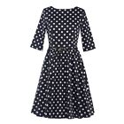 Women Casual Housewife Vintage Polka Dots Swing Pinup Cocktail Party Prom Dress
