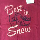Life is good NWT l/s womens tshirt best in snow dog mountain wild plum med-xxlg
