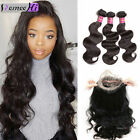 2017 NEW Brazilian Human Hair 3 Bundles/300g +360 Pre Plucked Lace Closure Wave