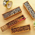 1x Hollow Wooden Pencil Case Holder Wood Cosmetic Makeup Stationery Box Storage