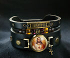 Jesus Christ Christian Faith Cuff Bracelet with Cross