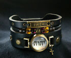 Cross Bracelet with Hebrew Jehovah Tetragrammaton and Faith Inscription