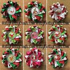 Handmade Double Layer Loopy Ribbon Hair Bow Barrette Clip - Christmas Theme