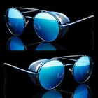 Blue/Blue Vintage Retro Steampunk Gothic Side Shield Hipster Round Sunglasses o