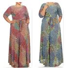 PLUS SIZE Dress NEW Maxi BOHO Feather pattern printed sheath dress 3/4 sleev