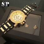 NEW MEN HIP HOP ICED OUT GOLD PT FREE MASON MASONIC WATCH & EARRINGS COMBO SET