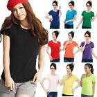 Womens Colorful Crew Neck Short Sleeve Cotton Basic T-Shirt Top Blouses USPE