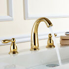 Bathroom  Widespread Basin Sink Faucet 3 Holes 2 Knobs Golden Brass Mixer Tap