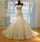 New Sexy Mermaid White/Ivory lace Wedding Dress Bridal Gown Size 6  --- 18