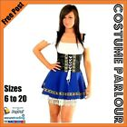Womens German Blue Black Oktoberfest Beer Maid Dirndl Wench Fancy Dress Costume