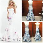 RACHEL ALLAN E1013 MAKIADO STRAPLESS PRINTED GOWN IN WHITE-BLUE $588 AUTENTIC