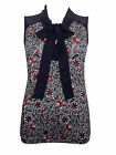 Next floral tie bow top~Black/red/white~8 12 14 16 18 22~New
