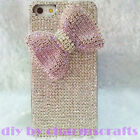 For Mobile Phone Sparkly Silver Diamonds Rhinestones Bling Pink Bow Cover Case