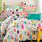 Colorful Rains Single Queen King Size Bed Quilt Duvet Doona Cover Set Rainbow