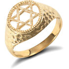 Unisex Solid 9ct Yellow Gold Hammered Magen Star of David Ring