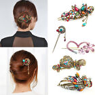 Women 16 Styles Retro Crystal Rhinestone Bow Flower Hairpin Hair Clip Hair Stick