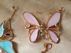 Stained glass butterfly window sun catcher yellow, blue or pink YOU Choose