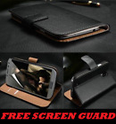Luxury Genuine Real Leather Flip Case Wallet Cover Stand Samsung Galaxy Models <br/> RRP 14.99 SOLD + 1ST CLASS POST + SAMEDAY DISPATCH