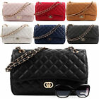 NEW Womens Shoulder Quilted Handbag Gold Chain Faux Leather Cross Body Bag