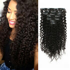 7A Curly Clip In Hair Extension 120g/set Natural Color Jerry Curly Human Hair