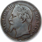 FRENCH COIN, 1869 BB, STRASBOURG MINT, 5 FRANCS SILVER, NAPOLEON III, GRADE VF+