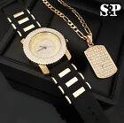 MEN ICED OUT HIP HOP MICRO PAVE WATCH & FULL ICED DOG TAG NECKLACE COMBO SET  image