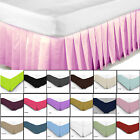 Fitted Valance Sheet Poly Cotton Bed Plain Base Cover Platform Pleated Dyed Home