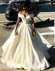 UK Beautiful Shoulder White/Ivory Satin A Line Bridal Wedding Dresses Size 6-22