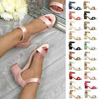 WOMENS LADIES LOW MID BLOCK HEEL ANKLE STRAP PEEPTOE BRIDESMAID SANDALS SIZE