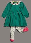 Ex M&S  Baby Girl Green Knit Dress & Floral Tights Outfit 0 3 6 9 12 18 Months