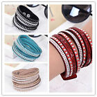 Fashion Leather Wrap Wristband Cuff Punk Crystal Rhinestone Adjustable Bracelet