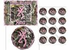 EDIBLE CAKE IMAGE BUCK DEER CAMO PINK ICING TOPPER CUPCAKES PARTY