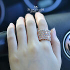 18CT Rose Gold Plated Sparkling Luxury Simulated Diamond wide Band Ring
