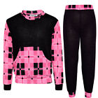 Girls Two Piece Tartan Print Lounge Suit Kids Jogsuit Tracksuits New 7-13 Years