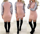 UK Ladies Womens Fashion Rose Pink Sweatshirt Dress Mermaid Sequin Sleeve Dress