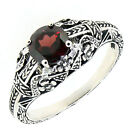 Vintage Style Round Genuine Garnet Sterling Silver Ring Antique Finish R205MG