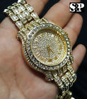 Men Luxury Hip Hop Iced Out Lab Diamond Watch & Power Plug 2 Necklace Combo Set