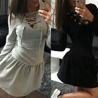 Womens Lace Up V-Neck Long Sleeve Low Waist Pleated Solid Slim Short Mini Dress