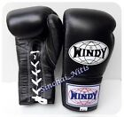 WINDY BOXING GLOVES LACE UP BGL 6,8,10,12,14,16,18 oz BLACK MUAY THAI FIGHTING
