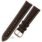 Genuine Croco Leather Brown Watch Band Men Women Gold Buckle Stitching Strap