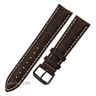 Black Pin Buckle Brown Alligator Grain Leather Watch Band Strap Contrast Stitch