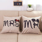 Lovers Couples Matched Linen Cushion Cover Pillowcase Mickey Minnie M Sofa Decor