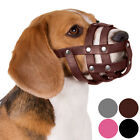 Leather Dog Muzzle Black Brown Pink Gray Basket Spaniel Beagle Small Puppies