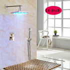 LED Light 16 Inch Rain Brushed Nickel Shower Faucet With Hand Sprayer Mixer Taps