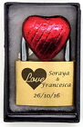 Personalised Engraved 40mm Padlock, BOLD ENGRAVING with a Love Heart, Box & Choc