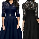 Women Lace Floral Long Dress Evening Party Ball Prom Gown Formal Maxi Dress S-XL