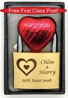 Personalised Engraved 40mm Padlock, BOLD ENGRAVING with a 3 Hearts, Box &amp; Choc <br/> Put engraving details in &#039;Add Message&#039; box at checkout