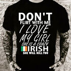Don't flirt with me My girl is French  (Black, Men, T-shirt)
