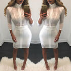 USA Women\'s Bodycon Bandage Evening Cocktail Party Long Sleeve Lace Pencil Dress